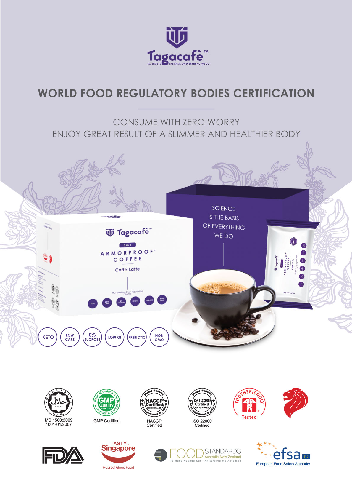 Tagacafè, Armorproof Coffee, Coffee, Cafe Latte, Low Carb, Low Glycemic Index, KETO, Low Carb High Fat (LCHF) diets, weight management, HDL, lean muscles for athletes, Anti-aging, Low in cholesterol and carbohydrates, Halal, Anmyna Online