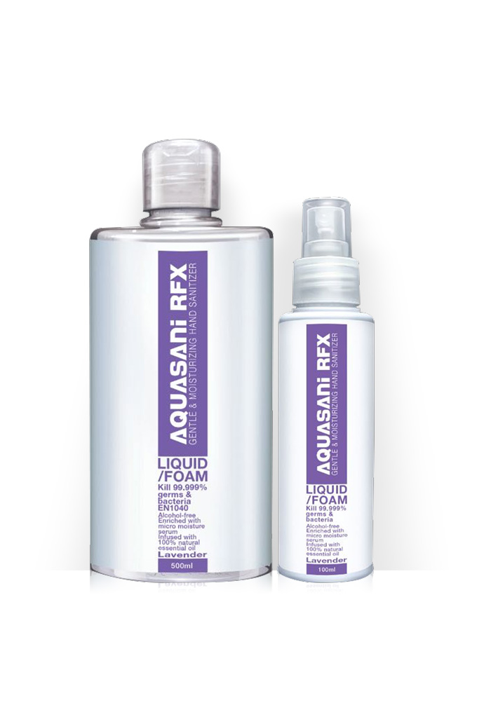 AQUASANI RFX 2 IN 1 INSTANT SANITIZER SPRAY, aquasani, aquasani rfx, sanitiser, lavender, rinse free, sanitizer